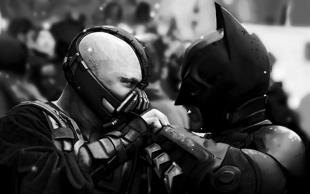 Bane and Batman B&W