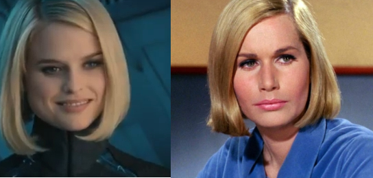 "The blond from the INTO DARKNESS trailer looks a lot like Dr. Elizabeth Dehner from ""Where No Man Has Gone Before"""