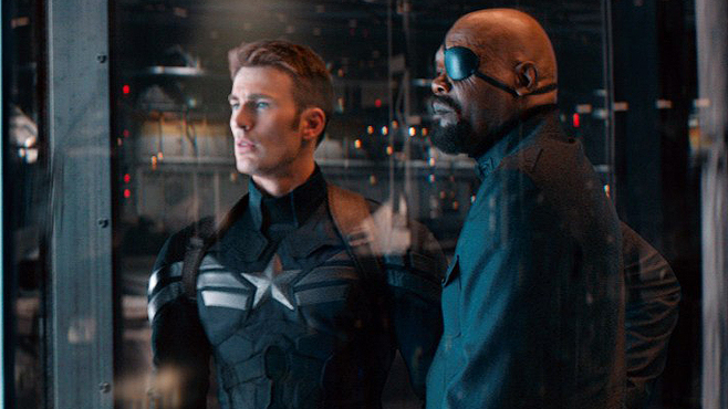 The Good Capt. in his new threads with Nick Fury.