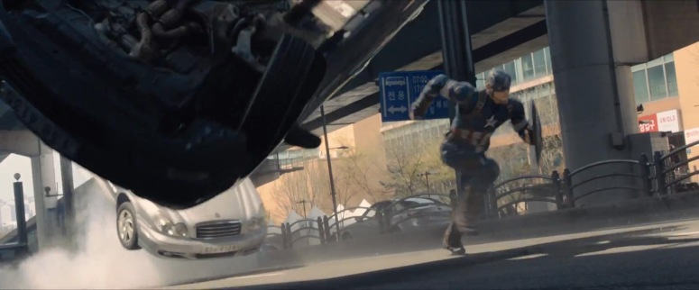 Captain America Runs From 'The Flying Car'