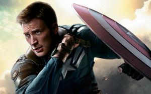 Chris Evans as Steve Rogers on a poster for 'The Winter Soldier'