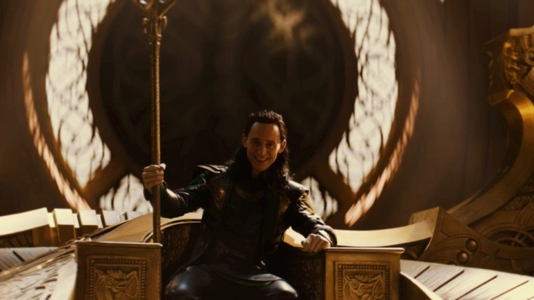 Loki sits on the throne of Adgard in 'Thor: The Dark World.'
