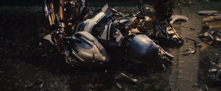 Ultron smashes the drone to the ground.