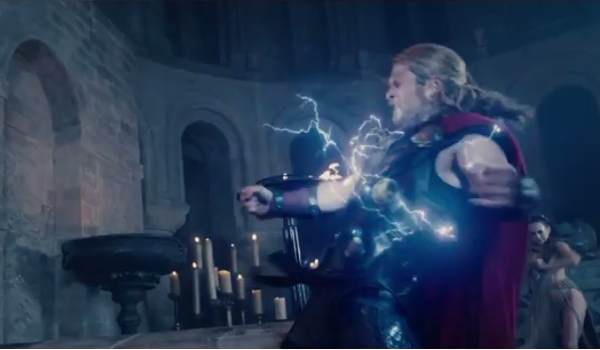Something's wrong with Thor. Is that Enchantress behind him? Either real or a Scarlet Witch mind-fuck.