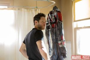 Scott Lang hangs his superhero suit in the shower.