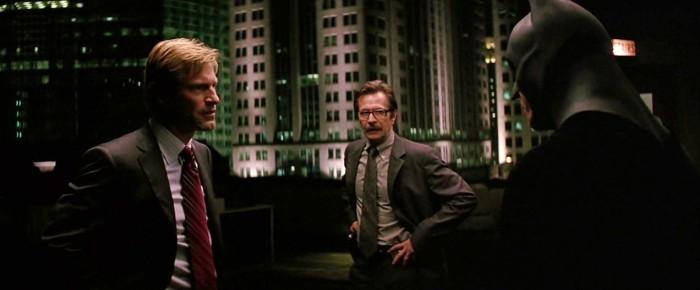 Harvey Dent, Jim Gordon, and Batman Meet on the Roof
