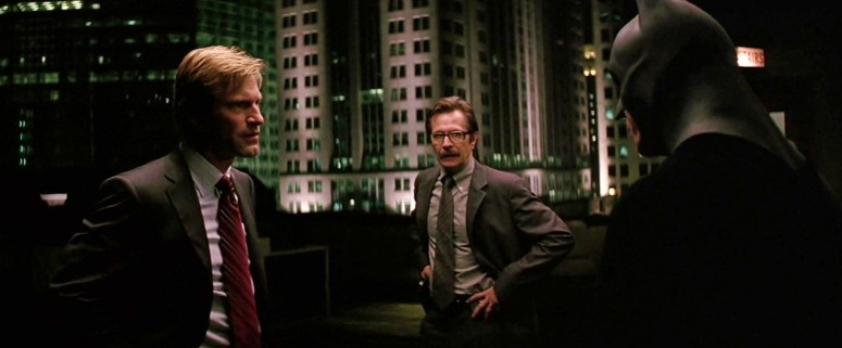 Harvey Dent, Jim Gordon, and Batman Meet on the Roof