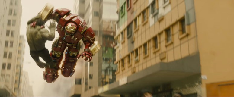Hulkbuster flies with Hulk