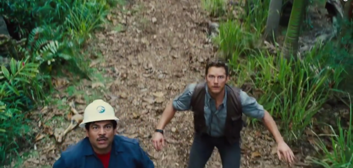 Scared of Indominus Rex Jurassic World Chris Pratt