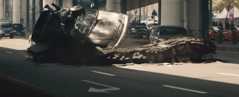 Avengers Age of Ultron Captain America Holds on to Flipping Car