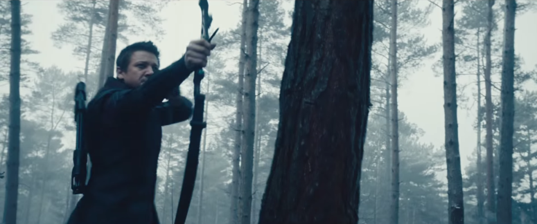 Avengers Age of Ultron Hawkeye Aims in Forrest