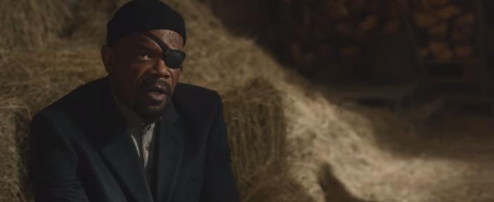 Avengers Age of Ultron Nick Fury Talks to Tony Stark in Barn