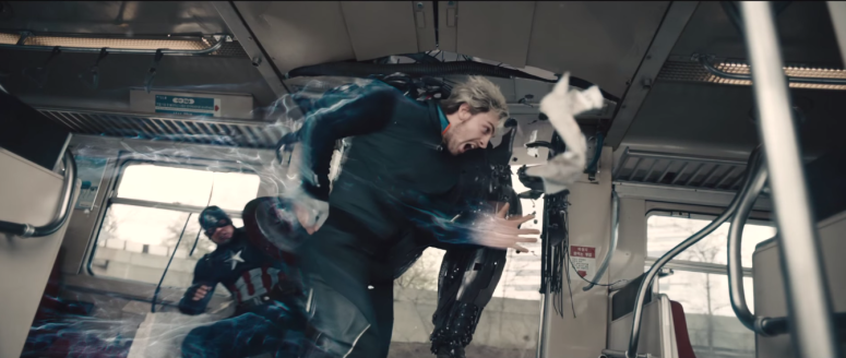 Avengers Age of Ultron Quicksilver checks an Ultron Drone