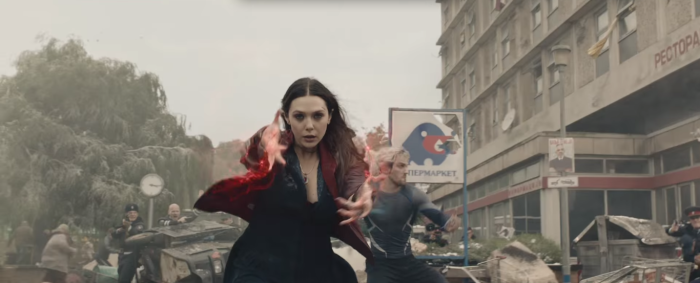 Avengers Age of Ultron Scarlet Witch and Quicksilver Use Their Powers