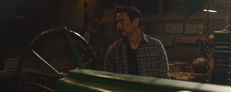 Avengers Age of Ultron Tony Stark Talks to Nick Fury in Barn