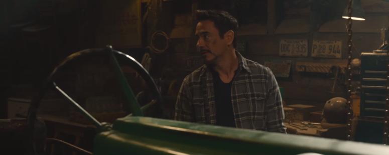 Avengers Age of Ultron Tony Stark Talks to Nick Fury in Barn