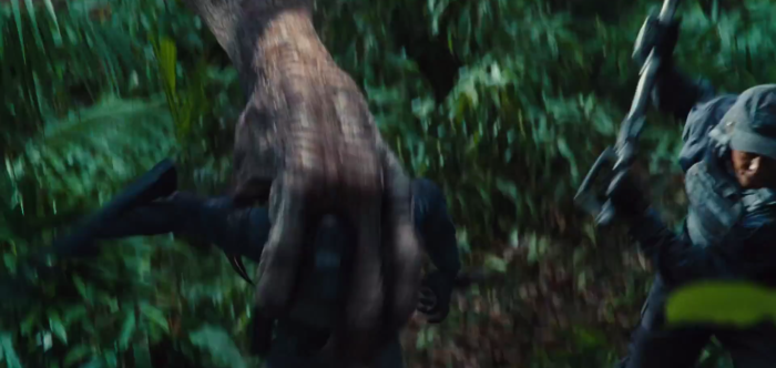 Jurassic World TV Spot Imdominous Rex Grabs a Man