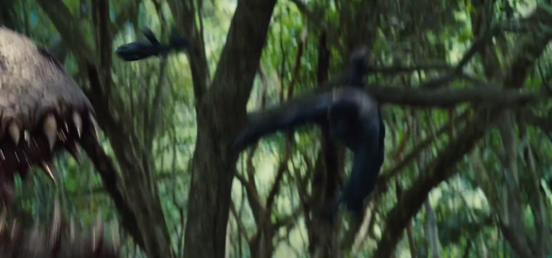 Jurassic World TV Spot Imdominous Rex Jaw and Thrown Man