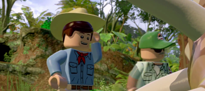 Lego Jurassic Park Alan Grant and Triceratops