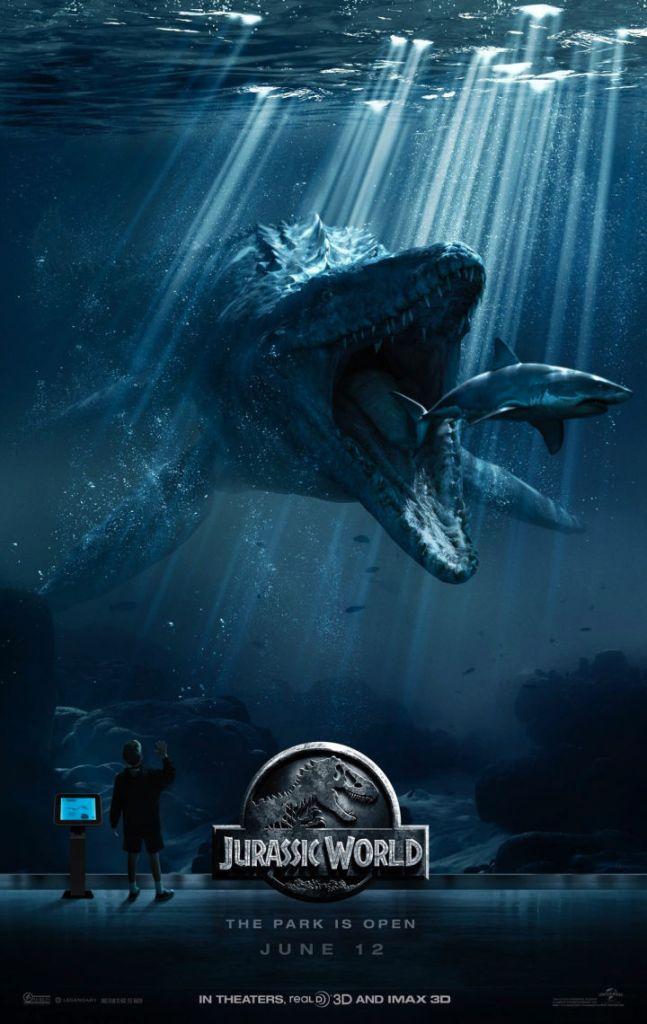 Jurassic World  Mosasaurus  Eats Shark Poster 2