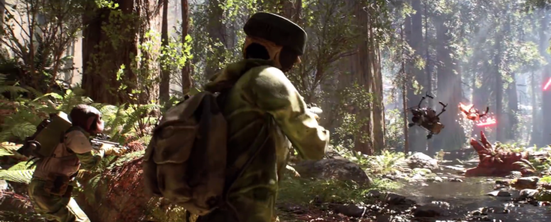 Star Wars Battlefront Trailer Rebels Shoot Stormtrooper Off Speeder