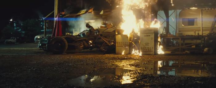 Batman V Superman Dawn of Justice Face off Batmobile