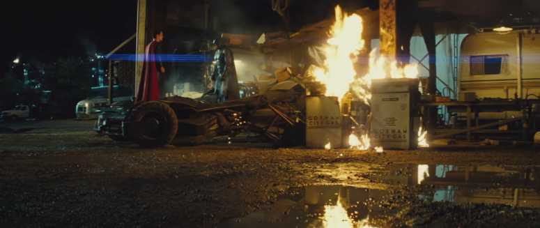 Batman V Superman Dawn of Justice Standing Face to Face in Batmobile