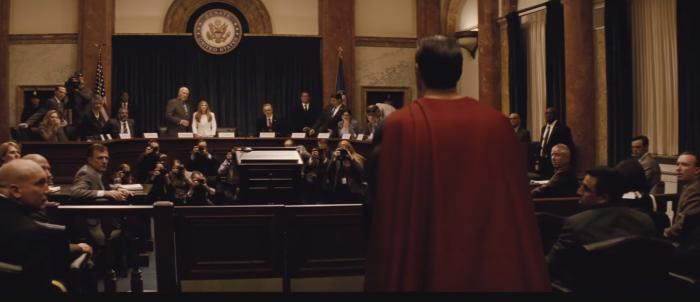 Batman V Superman Dawn of Justice Comic-Con Trailer Superman Courtroom 2