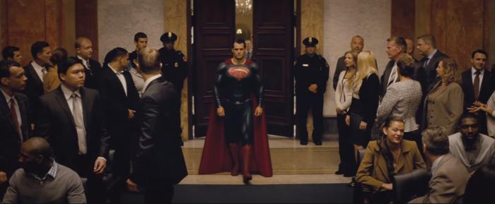 Batman V Superman Dawn of Justice Comic-Con Trailer Superman Courtroom