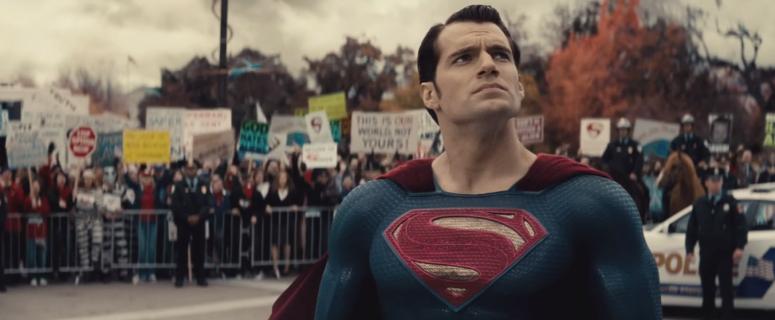 Batman V Superman Dawn of Justice Comic-Con Trailer Superman In Front of Protest