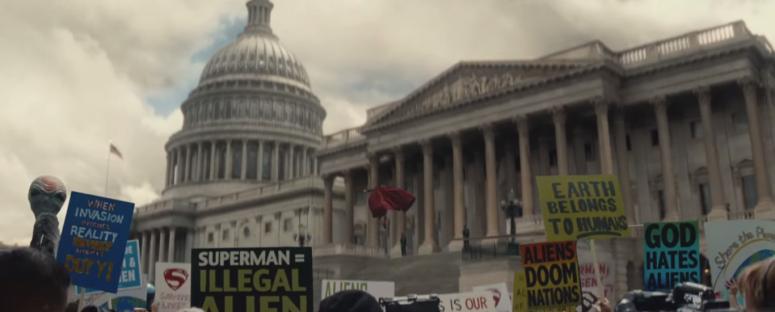 Batman v Superman Dawn of Justice Comic-Con Trailer Superman Protest