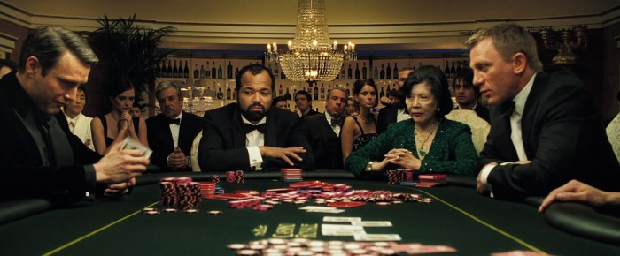 Casino Royale James Bond 007 Daniel Craig Mads Mikkelsen Le Chiffre Felix Leiter Jeffrey Wright Play Poker