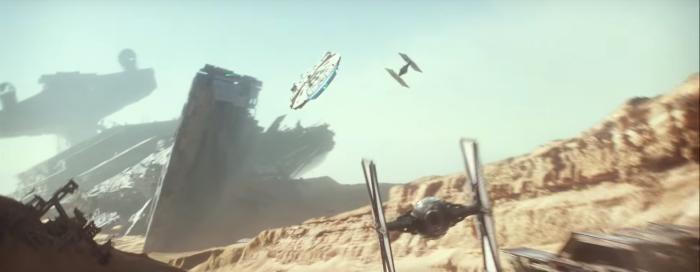 Star Wars The Force Awakens Final Trailer #3 Finn's 2 Tie Fighters Chase Millenium Falcon Over Jakku