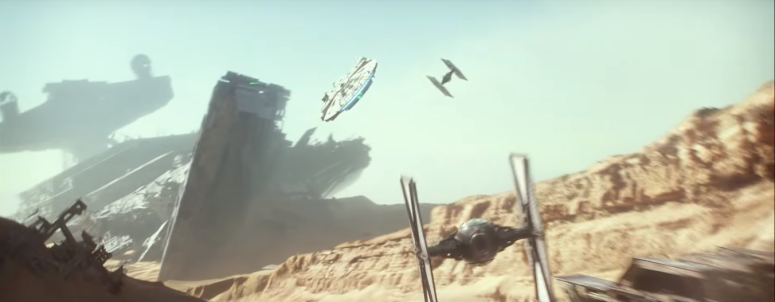 Star Wars The Force Awakens Final Trailer #3 Finn's 2 Tie Fighters Chase Millenium Falcon Over Jakku