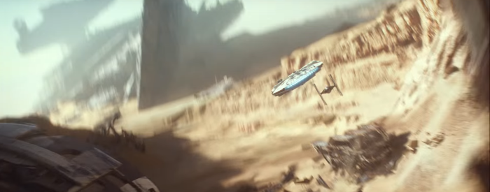 Star Wars The Force Awakens Final Trailer #3 Finn's Tie Fighter Chases Millenium Falcon Over Jakku