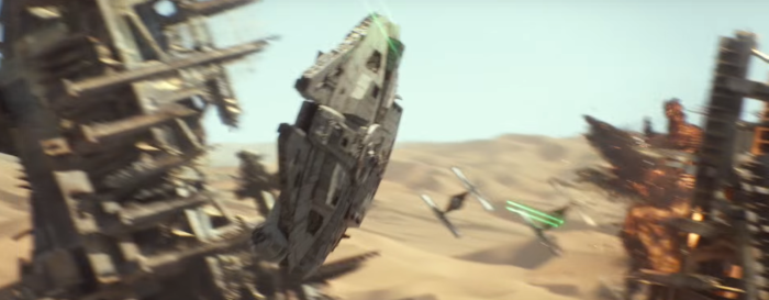 Star Wars The Force Awakens Final Trailer #3 Finn's Tie Fighters Chases Millenium Falcon 2