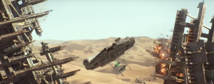 Star Wars The Force Awakens Final Trailer #3 Tie Fighters Chases Millenium Falcon Towards Screen