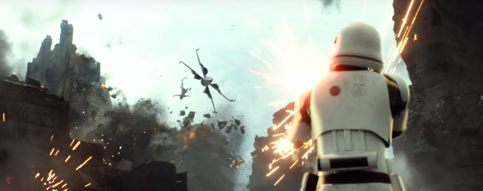 Star Wars The Force Awakens Final Trailer #3 X-Wing Blasts Stormtrooper