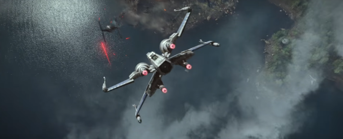 Star Wars The Force Awakens Final Trailer #3 X-Wing Chases Tie Fighter