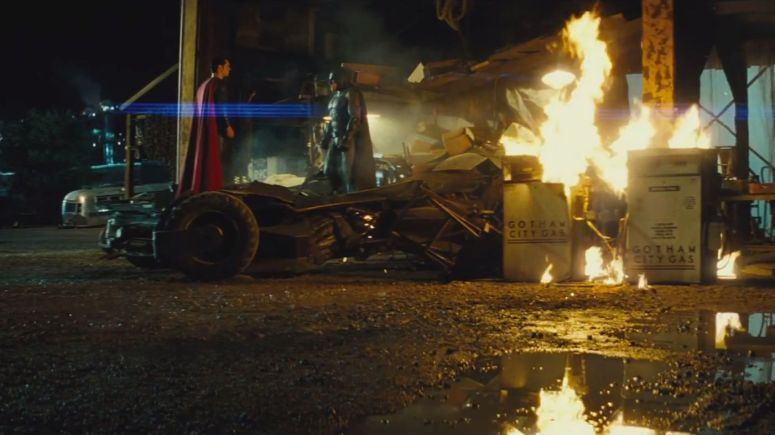 Batman V Superman Dawn of Justice Batman Faces Superman bat Mobile Gas Station