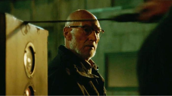 Patrick Stewart as Darcy in Green Room