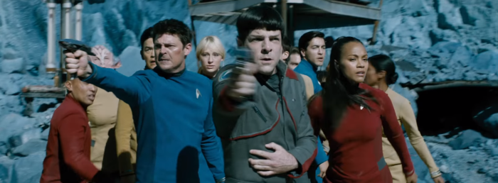 Star Trek Beyond Trailer 2 Bones Karl Urban Spock Uhura With Phasers