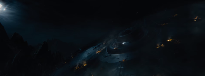 Star Trek Beyond Trailer 2 Captain Kirk Chris Pine Slides Down destroyed Enterprise