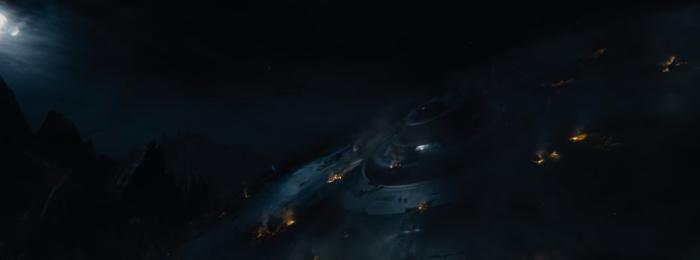 Star Trek Beyond Trailer 2 Captain Kirk Chris Pine Slides Down destroyed Enterprise