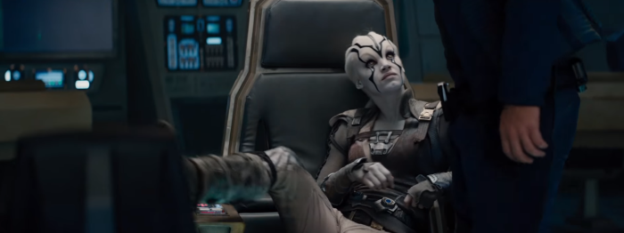 Star Trek Beyond Trailer 2 New Female Alien Sits in Captains Chair