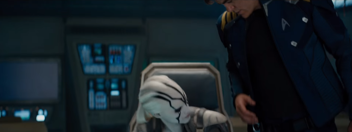 Star Trek Beyond Trailer 2 New Female Alien Sits in Kirks Chair