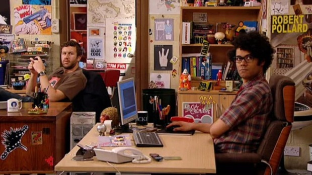 Moss and Roy from The IT Crowd. Geeks or Nerds?
