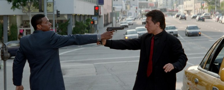 Rush Hour Chris Tucker and Jackie Chan Point Guns At Eachother